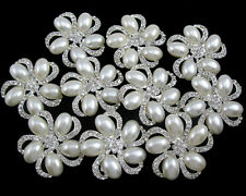 Wholesale 10x Pearl Crystal Rhinestone Brooch Pin Wedding Bouquet Silver Plated