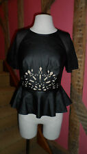 Size 8 Black Tough Love Peplum Top with Punched Design by Three Floor