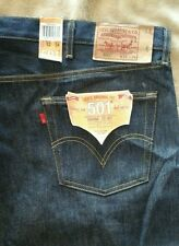 Levis 501 Shrink To Fit Rigid Button Fly Blue Denim Jeans Big & Tall Men 52 X 34