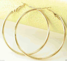 "Big & Bold New 9k Yellow Gold Filled Large 2.25"" Nicely Textured Hoop Earrings"