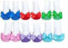Mary Jane Shoe Socks w/ Bling! 6 Pair In A Box Blue/Red/Green/Pink/Purple, 0-12m