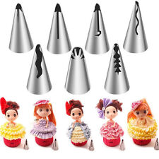 7pcs/set Pastry Stainless Fondant Icing Piping Nozzles For Barbie Cake Decor DIY