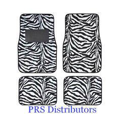 Girly ZEBRA WHITE BLACK CAR FLOOR MATS in 4 Pieces VALENTINES Day Gift NEW