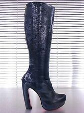 MORI ITALY PLATFORM KNEE HIGH BOOTS STIEFEL STIVALI REAL LEATHER BLUE BLAU 43