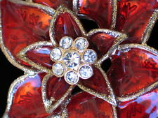 NWT ELEGANT GOLD RED RHINESTONE CHRISTMAS POINSETTIA FLOWER PIN BROOCH JEWELRY
