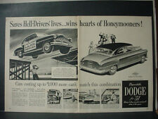 1951 Dodge Car Lucky Hell Drivers Honeymooners Double Page VTG Print Ad 11271