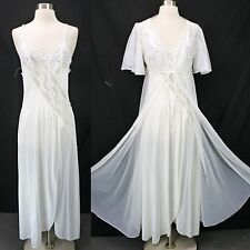 Vintage Val Mode White Peignoir Set Nylon Lace Nightgown & Sheer Chiffon Robe M