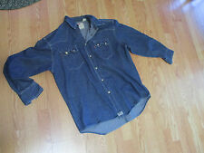 Levi's RICH BLUE HEX SNAP Western Jean Shirt LARGE  Cowboy 90s Sawtooth