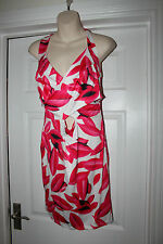 Ladies Bold Pink & White Stretchy Dress Size L Summer Evening Party