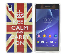 Schutzhülle f Sony Xperia Z2 Case Cover Tasche Etui Keep Calm and carry on GB
