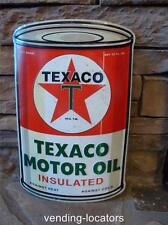 TEXACO MOTOR OIL Sign Large Metal Petroleum Rounded Gasoline Can Advertising New