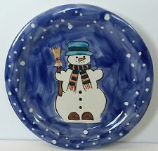 Snowman Holiday Plate Let it Snow Blue Winter Christmas Serving Cookies