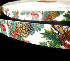 "5 Yards Christmas Pinecones Birds and Christmas Bows Acetate Ribbon 7/8""W"