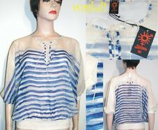 JEAN PAUL GAULTIER blue XS Stripes silk Batwing LACE-UP top NWT Authentic JPG!