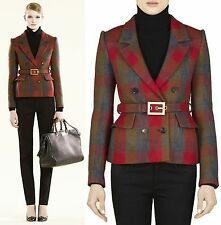 $2,550 GUCCI Plaid Check Wool Belted Jacket Suit Coat Blazer 6 42 Women Gift NWT