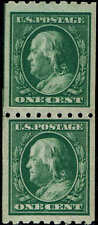 #390 PASTE-UP PAIR 1910 1c PERF 8 1/2 HORZ COIL ISSUE MINT-OG/NH--XF