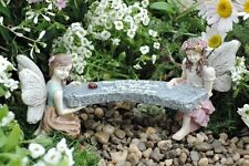Miniature Dollhouse FAIRY GARDEN ~ Abby & Amelia's Bench ~ NEW