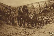 "British Field Artillery Crossing Dry Canal Bed World War 1 6x4"" Reprint Photo"
