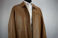 Brooks Brothers Heavy Leather Jacket Carmel Current Size XXL Perfect for Fall