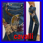 $1,420 ROBERTO CAVALLI Ladies JEWELED JEANS PANTS w/ Bag & Price Tag (40)