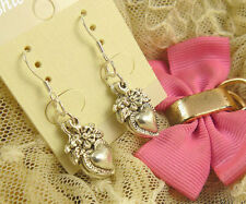 HOT Wholesale Lady 4 Pair/lot Charm Fashion Jewelry Silver Love Stud Earrings