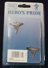 Caduceus Medical Officer Pin Collar Device 2 Piece Nickel Plated Set 4406N New