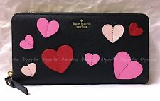 Kate Spade PWRU4745 Secret Admirer Applique Heart Lacey Zip Wallet BLACK NWT