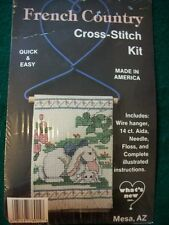 """French Country """"Bunny With Blue Bow"""" Cross Stitch Kit Size 4"""" x 10"""""""