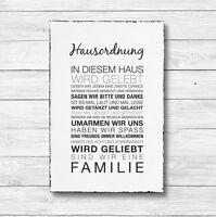 Holz Deko Schild Shabby Chic Vintage Geschenk HAUS ORDNUNG 20 x 30cm Holzdeko