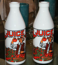 Vtg Set of 2 ITALIAN EGIZIA Milk Glass JUICE BOTTLES Farmer and Tomatoes EX COND