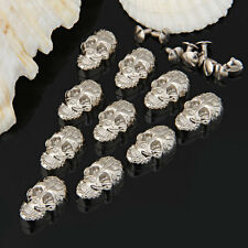 10 Set Silver Skull Studs Spike Rivets Punk for Leather Belt Craft Bag