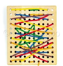 Wooden Threading Board Lacing Toy Educational Childrens Laces Game