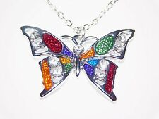 Silver Crystal Rhinestone Enamel Multi-Color Butterfly pendant Gift Necklaces