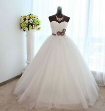 A-line Princess Sweetheart Sash Floor-length Satin Tulle wedding gown dresses
