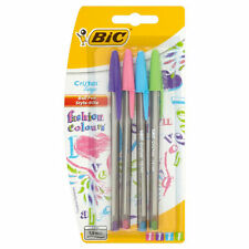 4 BIC CRISTAL LARGE FASHION COLOURS BALLPOINT PENS PASTEL PINK PURPLE BLUE GREEN