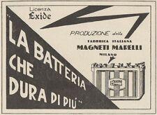 Z1172 Batterie MAGNETI MARELLI licenza Exide - Pubblicità d'epoca - 1933 Old ad