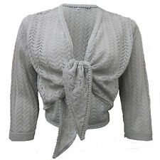 NEW LADIES LIGHT PLUS SIZE TIE FRONT CROCHET BOLERO SHRUG 3/4 SLEEVE UK 8-24