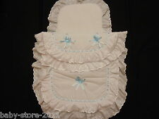 Beautiful  Pram  Quilt  and  Pillow  Set WHITE / BLUE  suitable for MOST PRAMS