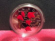 2004 Coloured Silver Maple Leaf Coin - Winter w/case and sleeve