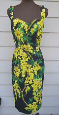 NEW $2595 Dolce & Gabbana 44 8 Mimosa Print Bustier Cady Dress Yellow Black