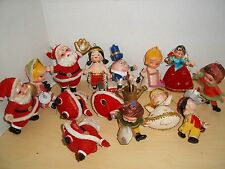 Lot 14 Vintage Flocked Christmas Ornaments  - Santas, Snow White, Humpty Dumpty