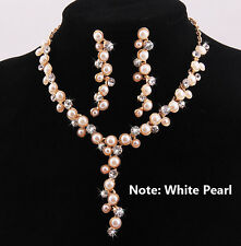 Fashion Jewelry Sets White Pearl Necklace Earring Set Wedding Party Crystal