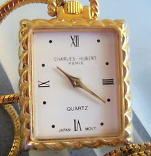 CHARLES-HUBERT PARIS QUARTZ WATCH NECKLACE ESTATE JEWELRY NICE