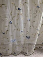 2 Shabby Cottage Chic Sheer Net Lace Blue Rosebud Embroidered Curtain Panels