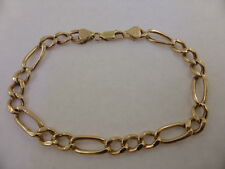 9ct SOLID YELLOW GOLD FIGARO CURB LINK CHAIN BRACELET 21cm too good to scrap