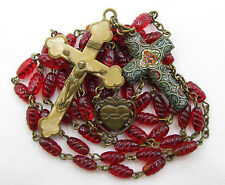 † SCARCE ANTIQUE MICRO MOSAIC CRUCIFIX & BLESSED OLD RED BEEHIVE GLASS ROSARY †