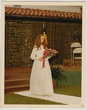 Vintage 70s PHOTO Young  Woman Girl In Formal Event Dress w/ Bouquet