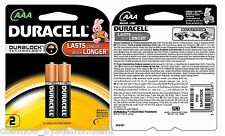 Duracell AAA Pack of 2 Batteries Cell Lasts Longer Much Longer