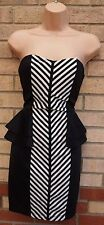MAYA DELUXE WHITE BLACK STRIPE PEPLUM SLIMMING BANDAGE BODYCON PARTY DRESS 8 S