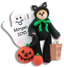 BEAR IN CAT COSTUME Personalized HALLOWEEN Ornament POLYMER CLAY by Deb & Co.